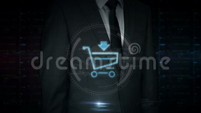 Pantalla táctil del hombre de negocios con el holograma del símbolo del carro de la compra metrajes