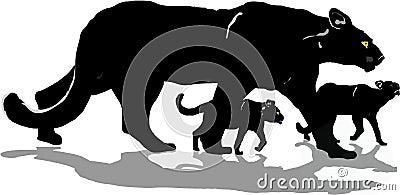 Pantera negra con los cachorros