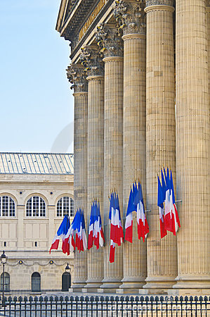 Pantheon, Paris-Pillars and French Flags,-