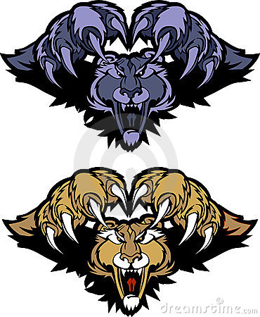 Panther Cougar Mascot Pouncing Vector Logo