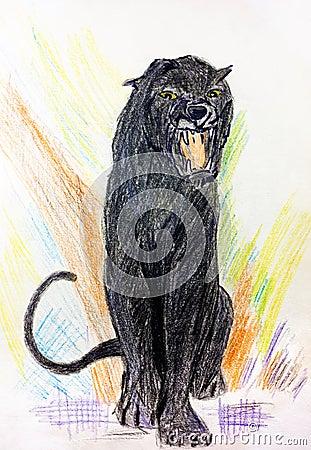 Panther roaring