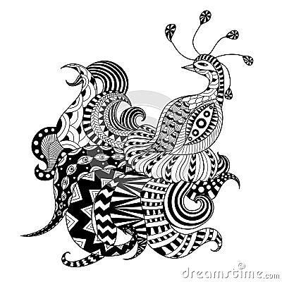 Paon de zentangle de dessin d 39 igital illustration de - Dessin de paon ...