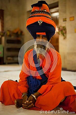 Paonta Sahib Leader Sits Saffron Editorial Photo