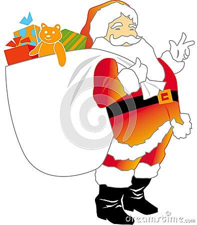 Papai Noel com saco do presente