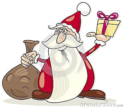 Papai Noel com saco e presente