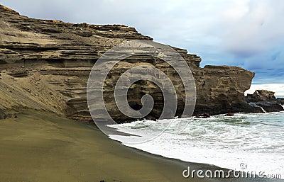 песок papakolea пляжа зеленый