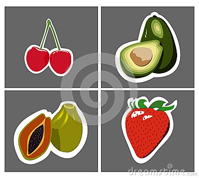 Papaya avocado cherry strawberry