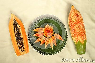 Papaya fruit carving
