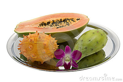 Papaya, prickly pear, Kiwano, Orchid