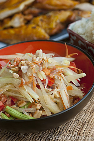 Papaya Salad with Chicken and Sticky Rice