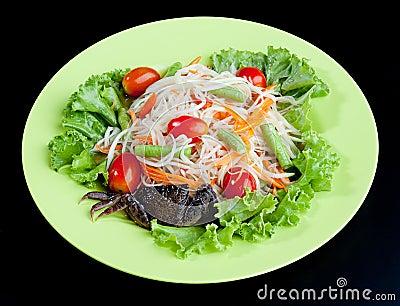 Papaya salad Thai food style isolated