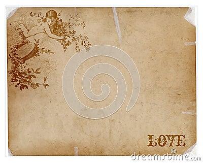 Papel antiguo con el texto del ángel y del amor