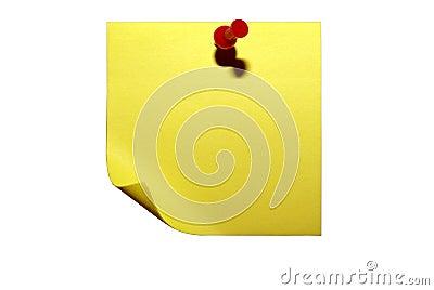 Papel pegajoso amarelo. Trajeto de grampeamento isolado.