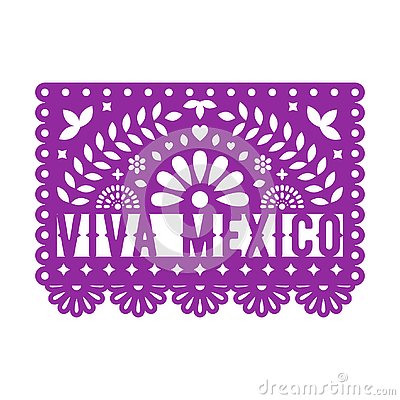 Papel Picado, Mexican paper decorations for party. Paper garland. Stock Photo