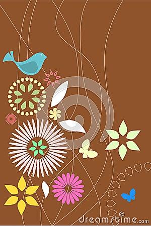Papel pintado retro de la flora y de la fauna