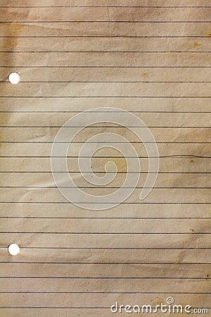 Papel viejo del cuaderno