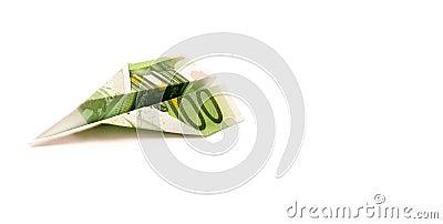 Paper 100 Euro Plane