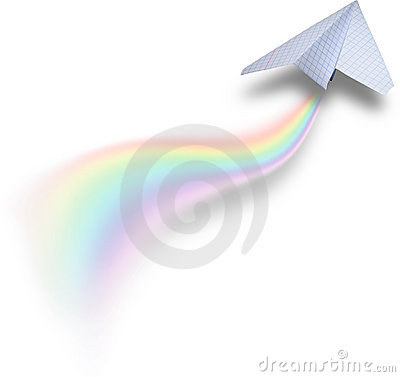 Paper airbus with rainbow tail