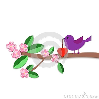 Free Paper Art Carve A Bird With A Heart In Its Beak On The Bloom Brunch On White Background. Origami Papercut Concept And Royalty Free Stock Image - 108612836