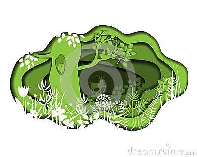 Paper art with forest. Vector plants and deer Vector Illustration