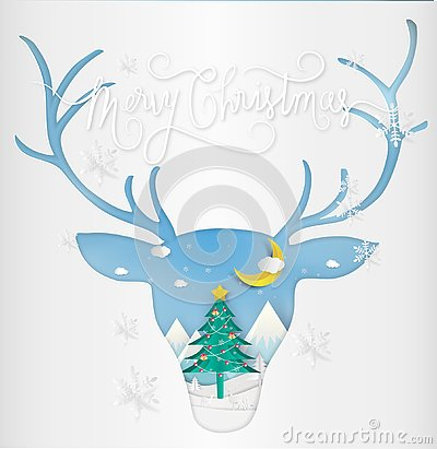 Free Paper Art Style Of Merry Christmas And New Year. Illustration Of Royalty Free Stock Image - 130199186