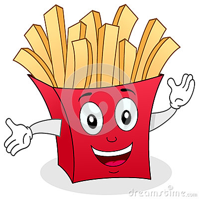 Paper Bag Character With French Fries Stock Vector Image