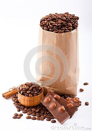 Paper bag with coffee beans and chocolate.