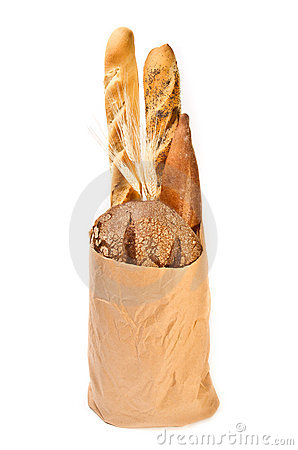 Paper bag with different kind of bread