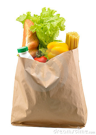 Paper bag with food isolated