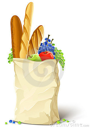 Paper bag with fresh food bread and fruits