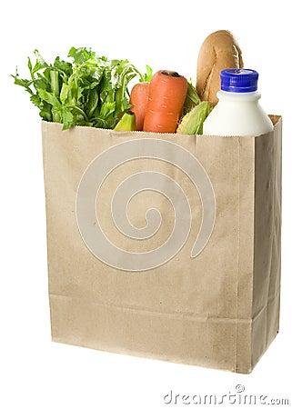 Paper bag full of groceries