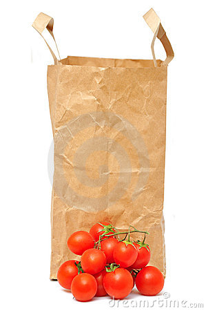Paper bag and tomatoes