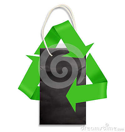 Paper bag on white with green recycling symbol