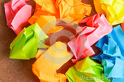 Paper ball - Crumpled of Sticky Post It Note on Cr