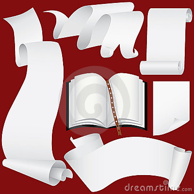 Paper banners,scrolls and book set(vector, CMYK)