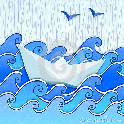 Paper boat in the blue sketched sea