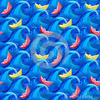 Free Paper Boat On The Waves Of Thick Watercolor Seamless Pattern Royalty Free Stock Photography - 74815137