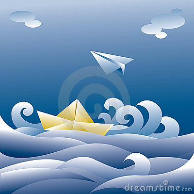 Paper boat and plane