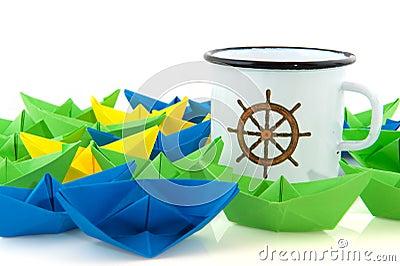 Paper boats and marine mug