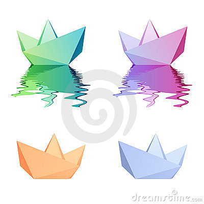 Paper boats. Vector icons