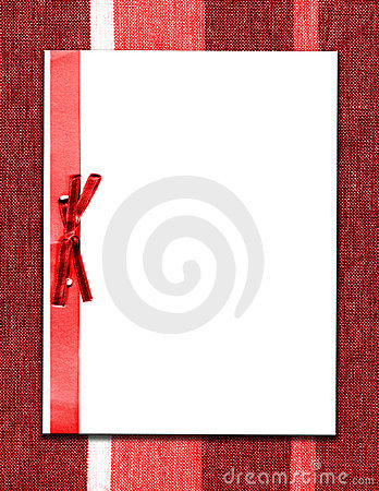 Paper And Bow On Red Fabric
