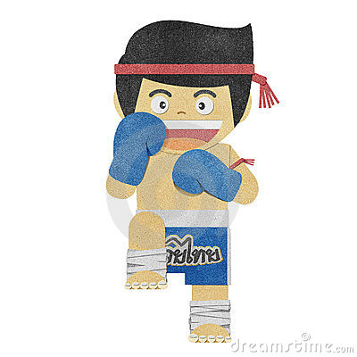 Paper boy ( muay thai kick Boxer ) recycled paper