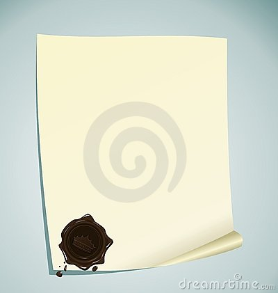 Paper with brown wax sealing