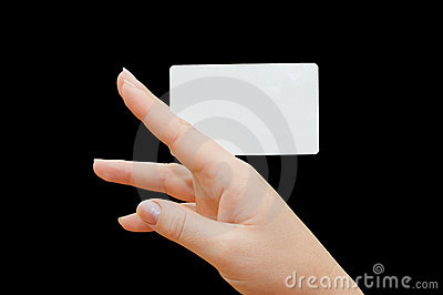 Paper card in woman hand on black