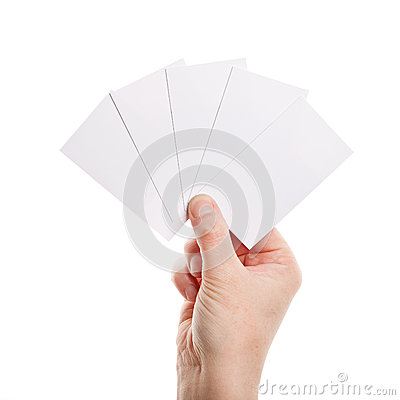 Paper cards in woman hand