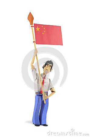 Paper figurine holding China flag