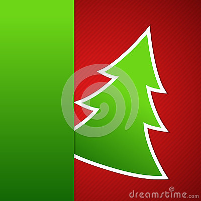 Paper Christmas tree on red striped background