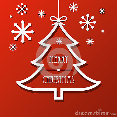 Paper Christmas Tree and Snowflakes Background