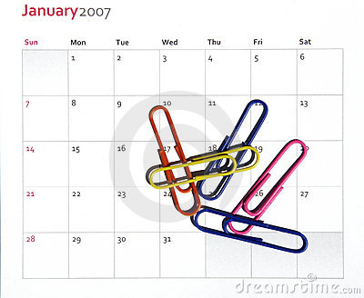 Paper Clips On Calendar