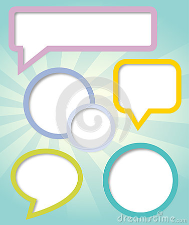 Paper clouds and speech bubbles